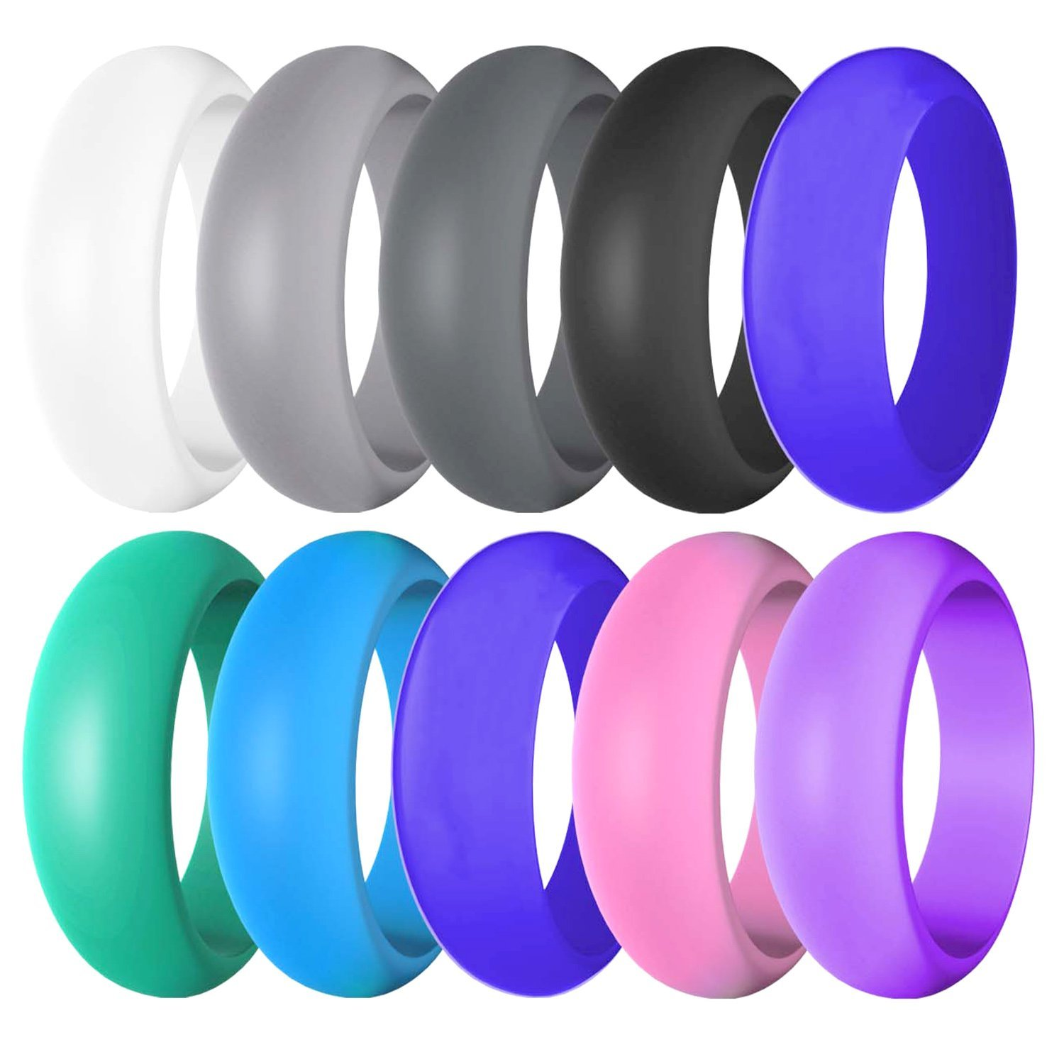 10 Pack-Silicone Affordable Wedding Ring For Men and Women Rubber Band,18.2mm,18.9mm,19.8mm,20.6mm,21.3mm