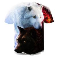 2018 Newest Wolf 3D Print Sublimation Cool Seamless T-shirt Men/Women Short Sleeve Summer Tops Tees T shirt
