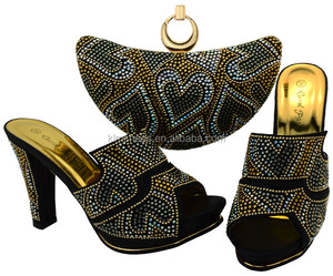 Amazing Wedges High Heel Shoes/Italy Style Shoes And Bags Sets/African Ladies Slipper And Bag For Party BCH-34