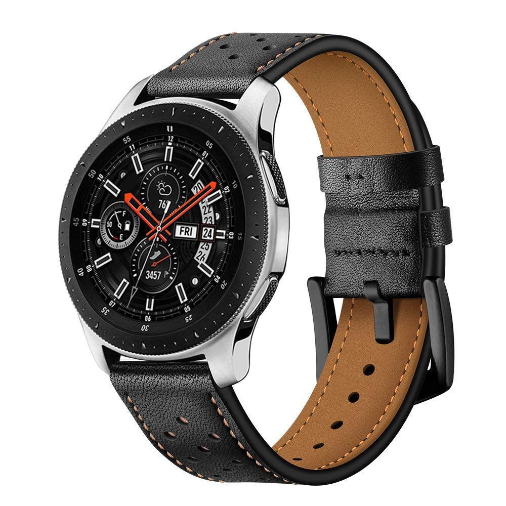 Watch Band Compatible for Samsung Galaxy Watch, MoreToys Genuine Leather Replacement Accessory Wristband Watchband for Samsung Galaxy Watch (46MM, Black)
