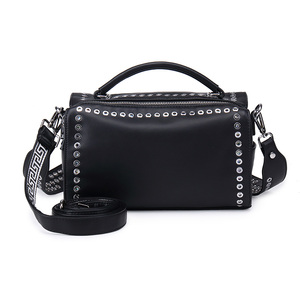 Comfortable wide straps women black genuine leather rivets shoulder bag