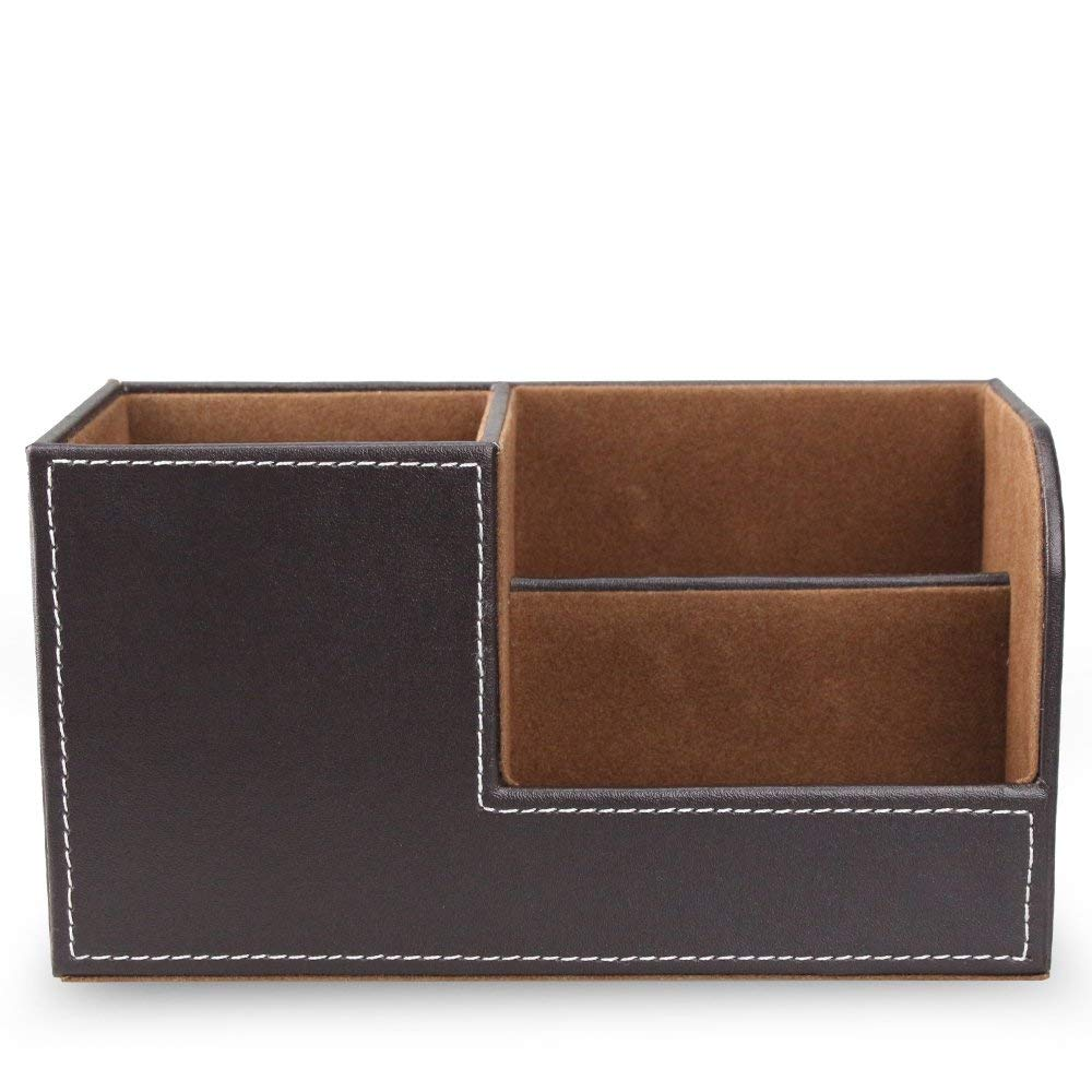 Wooden Struction PU Leather Desk Supplies Organizer Pen/Pencil Holder Stationery Accessories Storage Box for Cell Phone,Business Name Cards,Remote Control,Brown