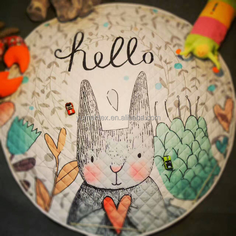 Rabbit eat carrots pattern roundness 150cm fashion carpet babi play animal baby carpet