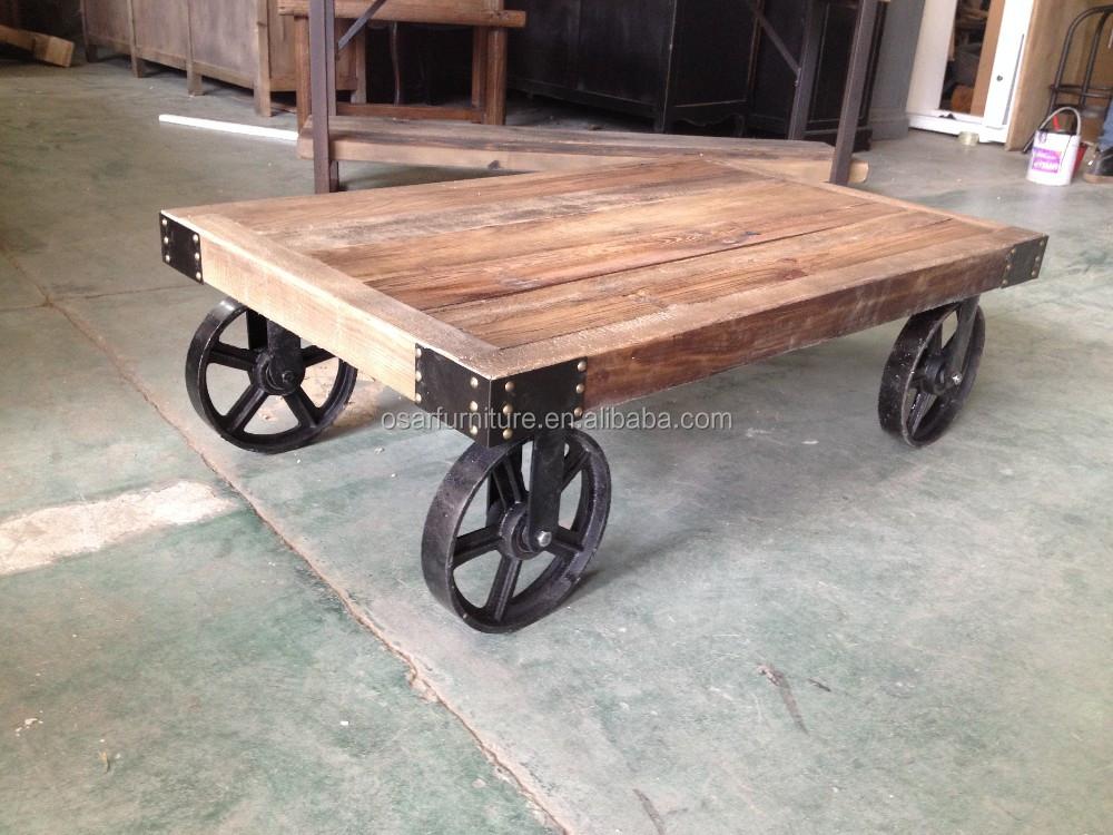vintage style industriel bois m tal table basse panier avec roues buy panier table m tal. Black Bedroom Furniture Sets. Home Design Ideas