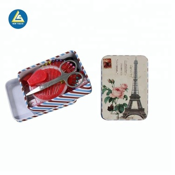Professional manufacture sewing tin box with sewing accessories