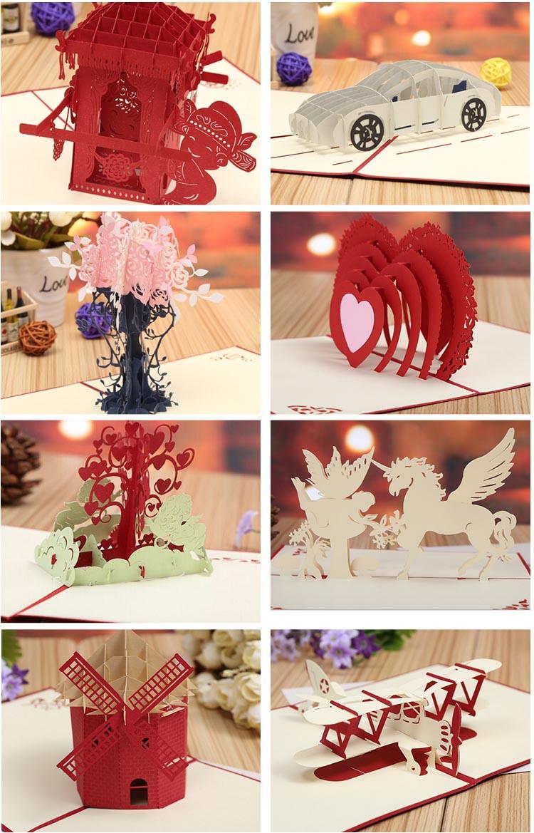 Convite feito à mão Saudação Feliz Natal flor 3d pop up cartão do dia de natal