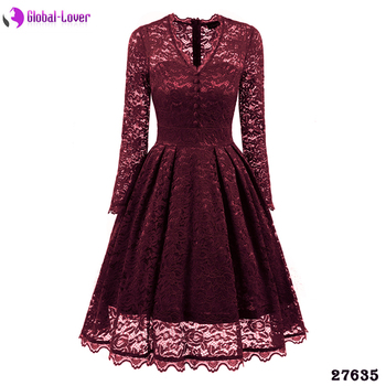 Ladies Plus Size Elegant Long Sleeve Red Hollow Out Prom Lace Midi Dress  Designs - Buy Lace Dress Designs,Prom Dress Lace,Lace Dress Product on ...