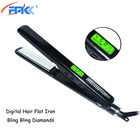 Private label flat iron nano titanium 1 inch digital instant heat bling bling fast hair flat iron