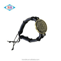 High Quality Hand Made Adjustable Woven Leather Bracelet With Custom Metal Accessory