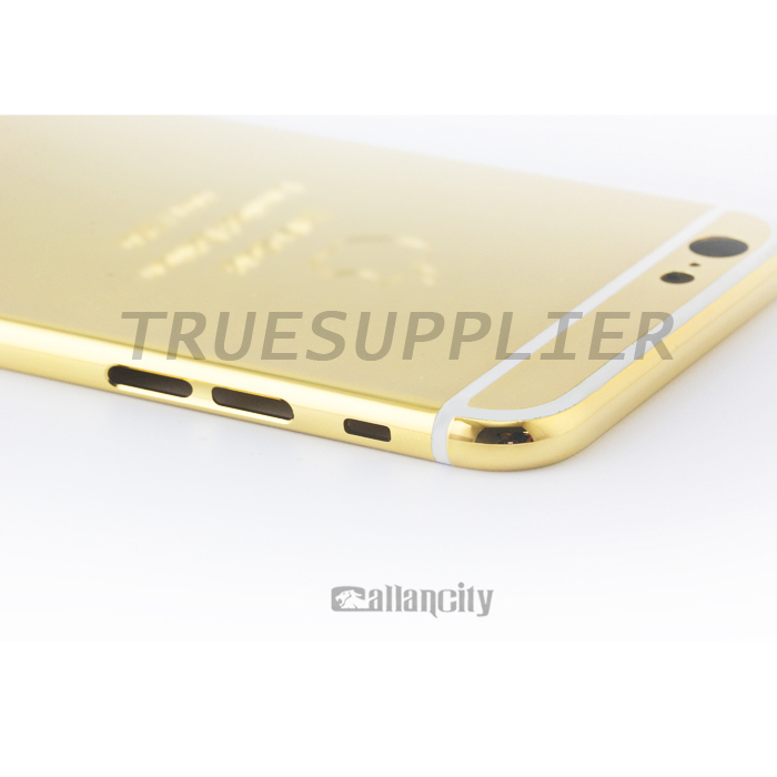 24 kt mirror finished gold lettered bezel for iPhone 6 gold plated housing (New Design)