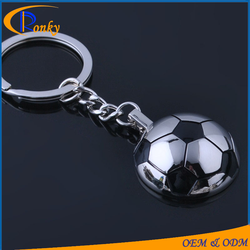Newly custom metal OEM half soccer ball keychain germany souvenir gifts innovation giftware