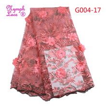 3d flower rose lace fabric tulle beads bridal