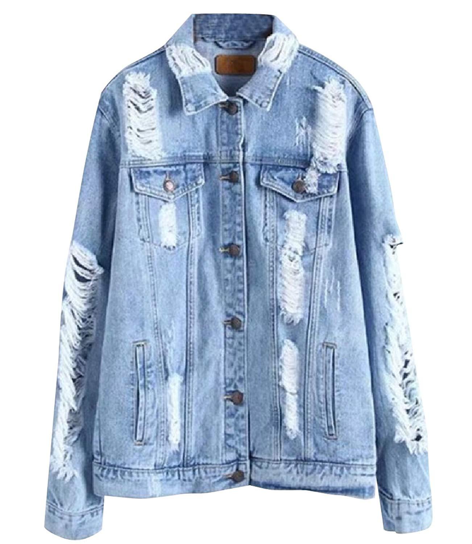 YUNY Women Faded Regular Fit Broken Hole Rugged Wear Jean Jacket