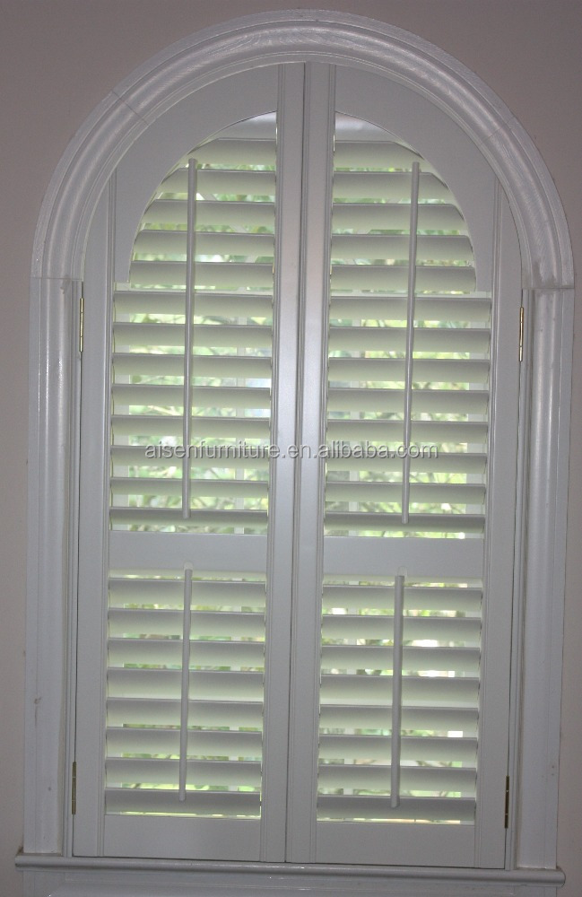 White PVC and vinyl wrapped LTR open arch shape plantation shutters