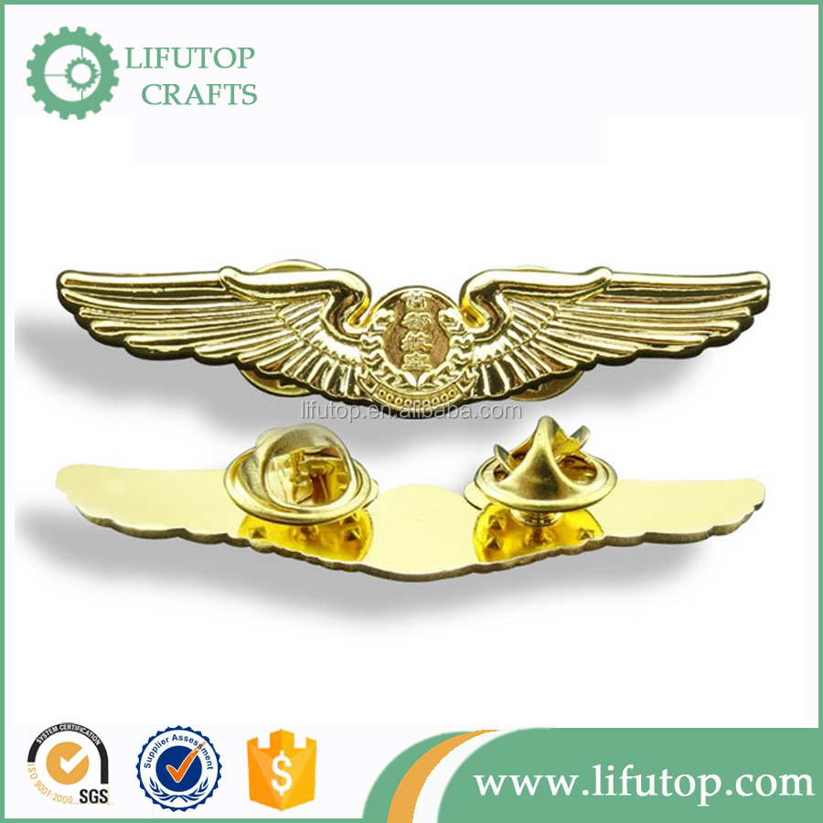Gold plating pilot Wings Lapel pin with butterfly clasp