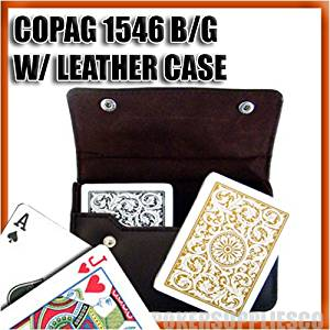 Copag Plastic Cards Leather Case Set 1546 Black/Gold Poker, Regular Index