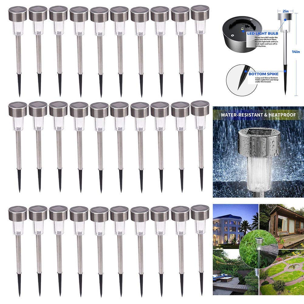 Globe House Products GHP 30-Pcs White & Silver Stainless Steel ABS & Plastic Solar Energy Bright LED Lamps