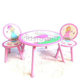 HT-HPTC02 60x60x44cm Princess Graphic Round Wooden Kids Table Chairs, High Quality Kids Table And Chairs