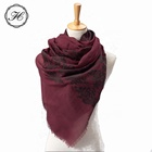 China 100% Cashmere Embroidery Flowers Women Thinner Silk and Wool Scarves