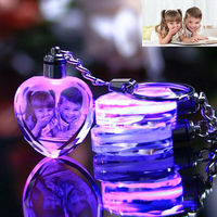 Custom Laser Etched Engraving Crystal Photo Keychain LED Light Personalized Gift