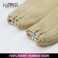 Forever Double drawn all colors weft full cuticle 4inch human hair weave extensions