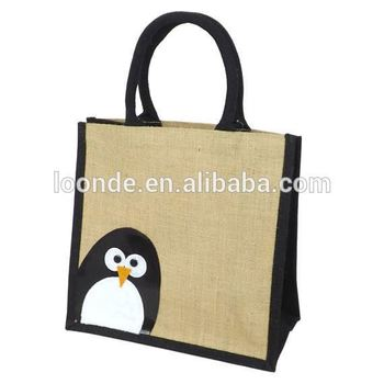 Peekaboo Penguin - Jute Hessian Burlap Medium Animal Shopping Bag