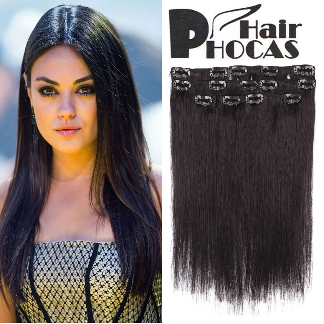 Buy Hairphocas 14 Inch 1b Natural Black Full Head Clip In Remy