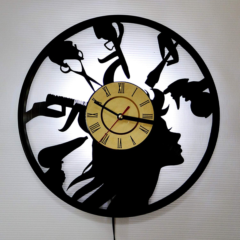 Barber Shop Hairdresser White LED Vinyl Clock Night Light Night Lamp I Love Led Vinyl Clock Wall Light Backlight Color Remote Controller Vintage Handmade Home Decor Art Decorative Wall