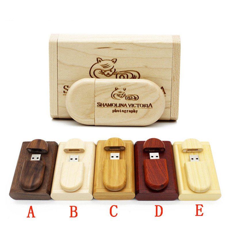 customize logo wooden box pendrive 4gb 8gb 16gb 32gb 64gb usb flash drive u disk factory price high quality gift pendrive