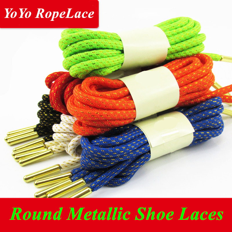 2017 Fuzhou YoYo Round Metallic Shoelaces Metallic Gold Shoe Laces for Yeezy 350 Boost