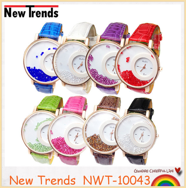 Christmas girl gift beads crystal quartz leather watches 2016 new arrival