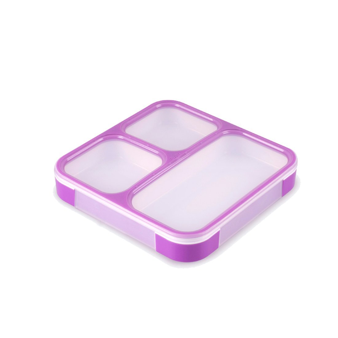 ONEONEY Kids Lunch Boxes Containers - 3 Compartments with Lids - Great for Food & Snack Storage - UNBREAKABLE, Eco-Friendly, BPA Free Plastic - Reusable and Dishwasher Safe Box-(Purple,)