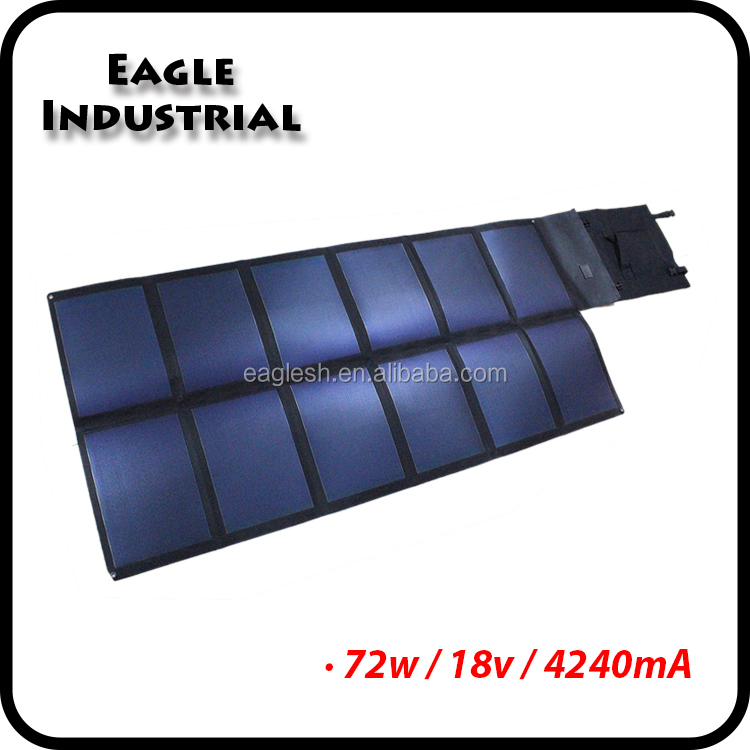 72w Flexible Fabric Folding Solar Power Panel Bag for Charging