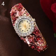 Модные женские часы с цветами и бабочками, круглый циферблат, стразы, браслет, наручные часы, relojes para mujer(Китай)