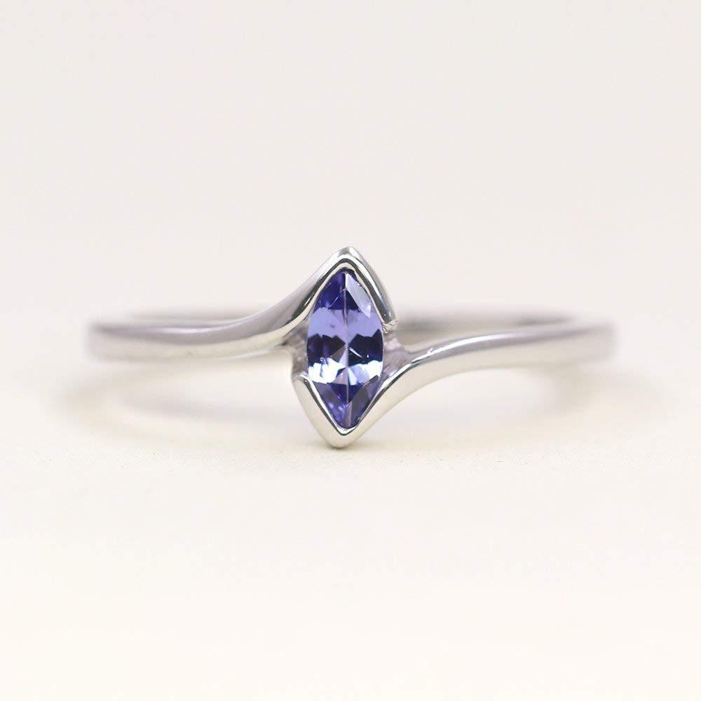 December Birthstone Ring 11 6MM Brushed Finish Comfort Fit Classic Dome White Wedding Band 0.07ct Tanzanite Titanium Ring