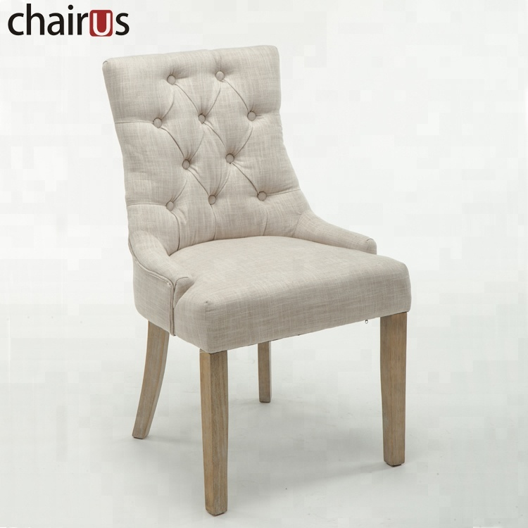 Modern Chair Furniture Fabric Wooden Cheap Restaurant Upholstery Dining Room Set Tufted Dining Chair