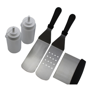 5 Piece Professional Grade Grill Griddle BBQ Tool Kit ,2 Spatulas, 1 Chopper Scrapper and 2 Bottles - Great for Flat Top Cooking