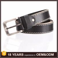 GuangZhou Design Sliver Buckle Casual Black Genuine Leather Men Belt