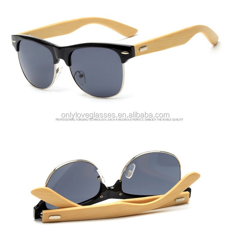 new arrival glasses eyewear OEM bamboo sunglasses metal rim bamboo