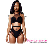 Sexy Unlined models Mesh Spicy High-waist Racer front open black bikini