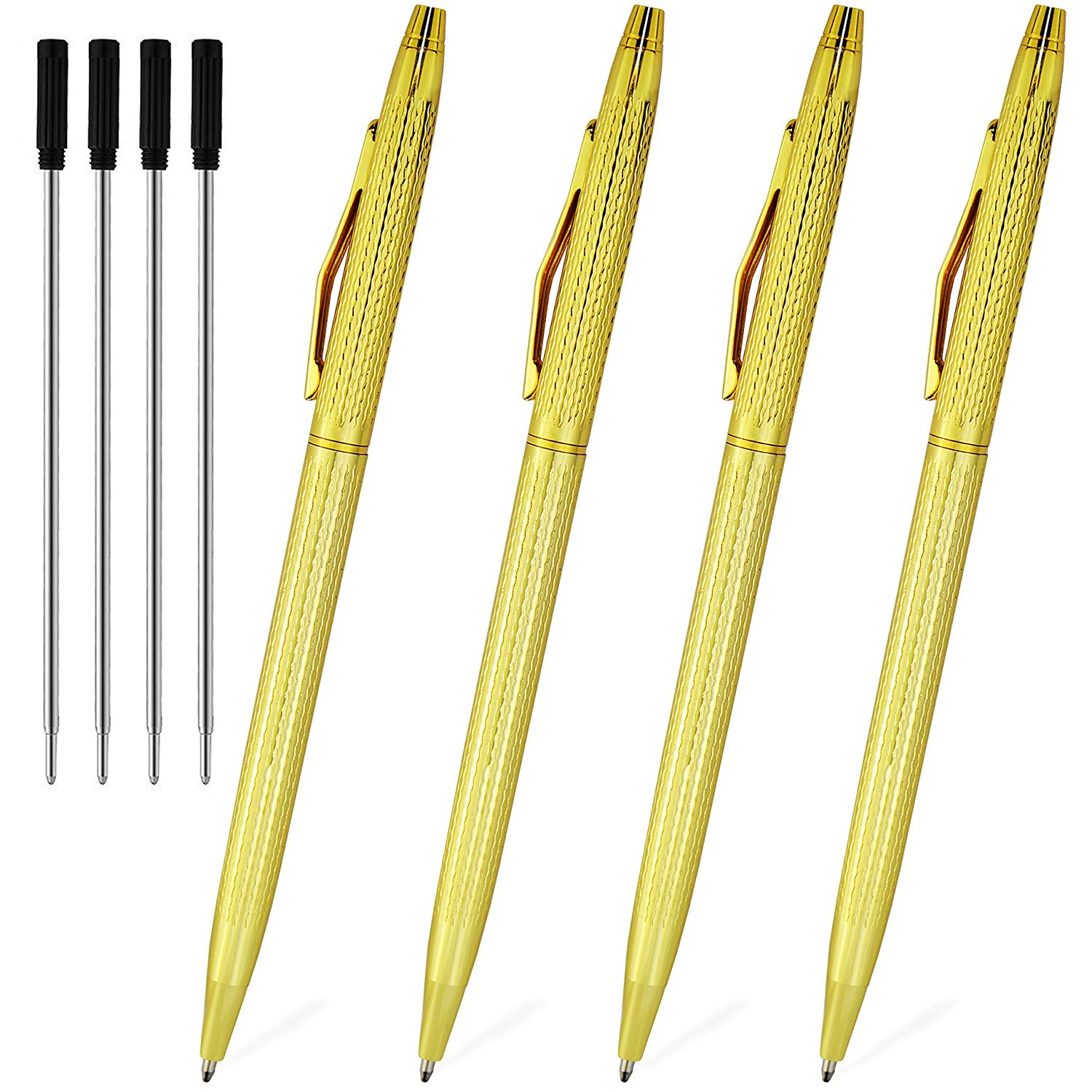 Gold Pens With Black Ink Ballpoint Pens Retractable Pen In Bulk Stainless Steel Metal Pens Ball Point Medium 1.0mm Business Office Grip Nice Gift Pen For Women Girls Men, 4 Pack With 4 Extra Refills