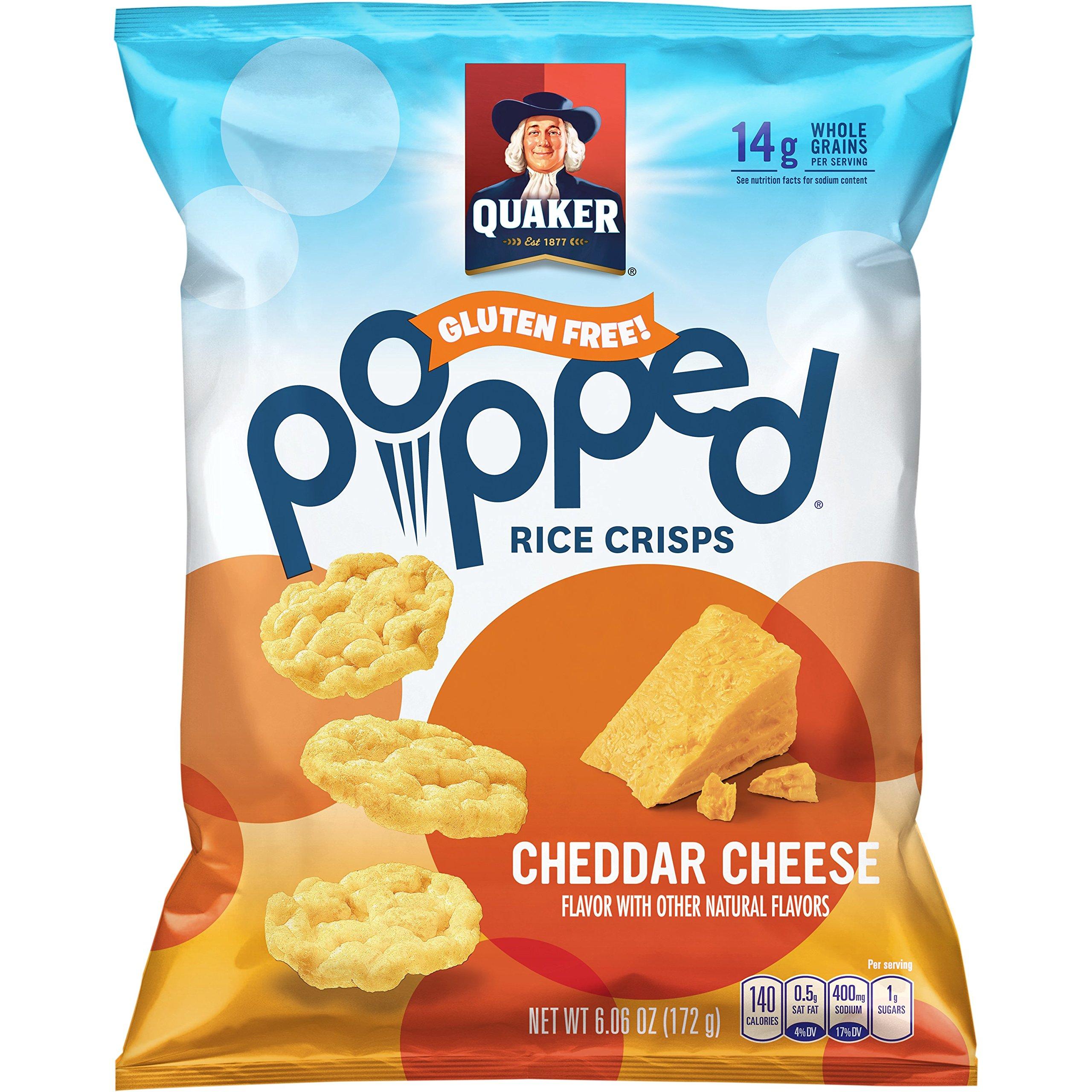Quaker Popped Rice Crisp Snacks, Gluten Free, Cheddar Cheese, 6.06 Ounce Bag