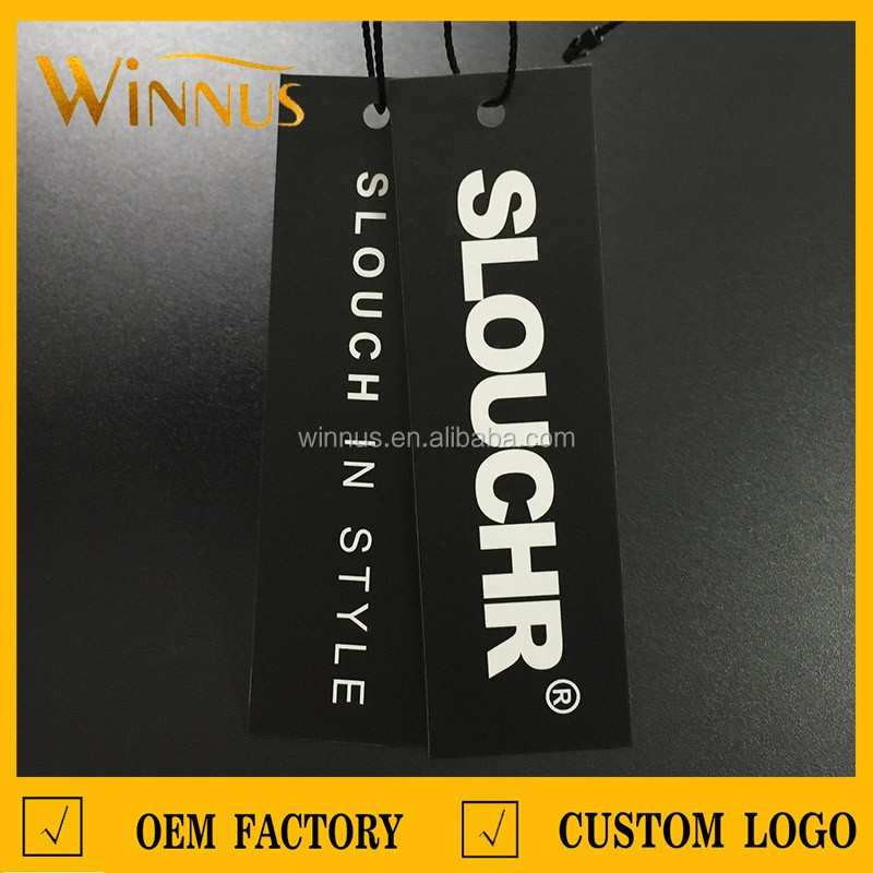 custom logo print hole punch shoes belt garment swing tag white black thick paper cardboard hang tag t shirt hangtags for jeans