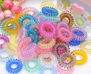 100pcs A Set Colorful Elastic Telephone Wire Cord Head Ties Hair Band With Random Color