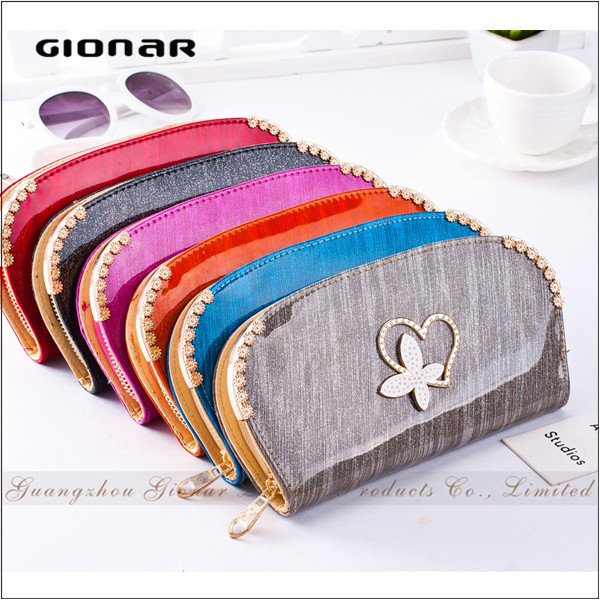 Fashion Cheap PU Wallet with Coin Slot Locks Wallet Anti-theft Alarm