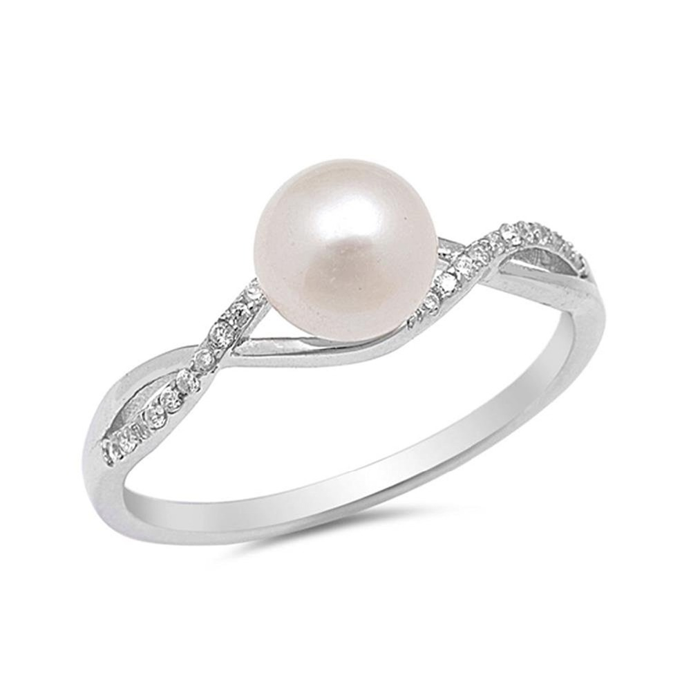 Latest Design Ladies Sample Engagement Promise AAA Cubic Zirconia Brass Jewelry Pearl Ring Mounting Designs Sizes for Women