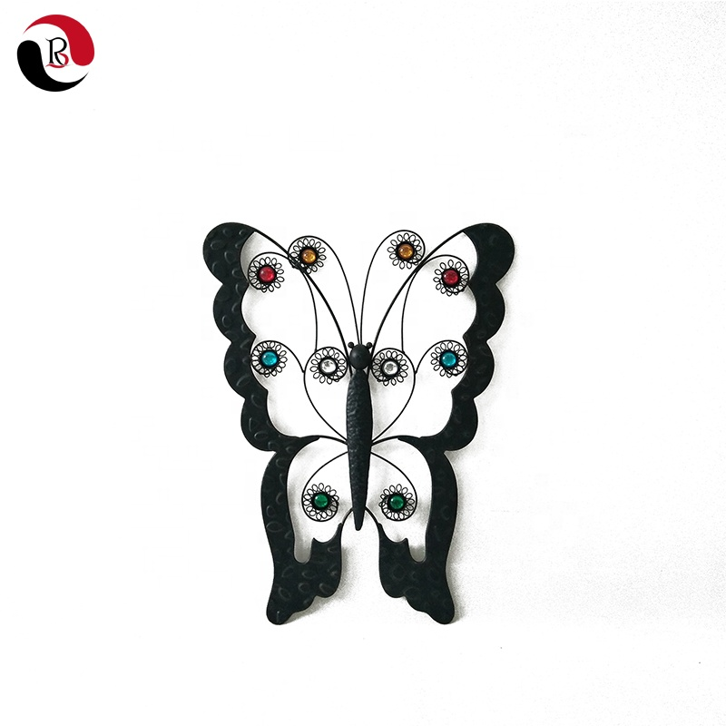 Hot Selling Vintage Black Metal Butterfly Wall Art Decoratie