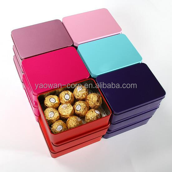 colorful cheap oblong tin boxes for candy candy tin can wedding bonbonniere
