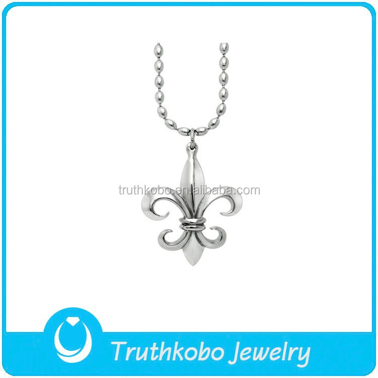 TKB-P0214 Vintage Jewelry Knight Fleur De Lis Polished Stainless Steel Charms & Pendants