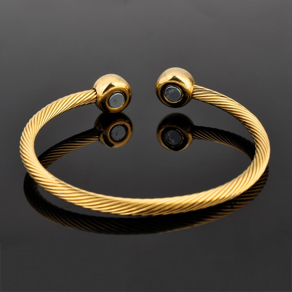 High Quality Stainless Steel Wire Gold Plated Engergy Magnetic Bangle